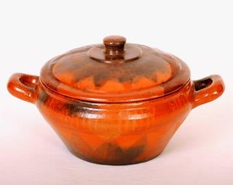 Vintage Mexican Bean Pot Redware Pottery