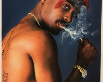 Tupac 2pac Shakur oil painting on canvas, 24x32 inch large wall art