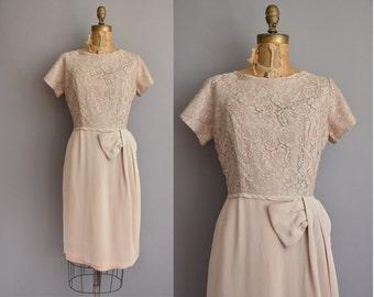 50s beige rayon lace vintage wiggle dress / vintage 1950s dress