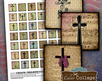 Vintage Corsses - 1x1 Collage Sheet - Resin Images - Religious Digital Images - Decoupage Paper - Cross Jewelry Images - DIY Craft Paper