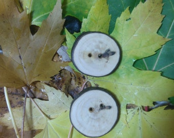 Two wood buttons, handmade wooden buttons, made from a tree branch, Maple