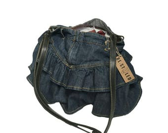 Denim bag crossbody shoulder handbag messanger adjustable mini shopping upcycled bag recycled jeans handmade bag