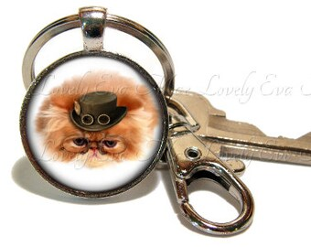 Steampunk Cata Keychain, Cat Key Chain, Yellow Cat Key Ring, Key Fob, Steampunk Keychain, Keychain with Clip, Key Fob with Clasp