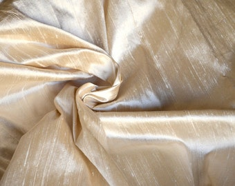 Silk Dupioni in Beige colour, Extra wide 54 inches, Half yard  DEX - 320A.
