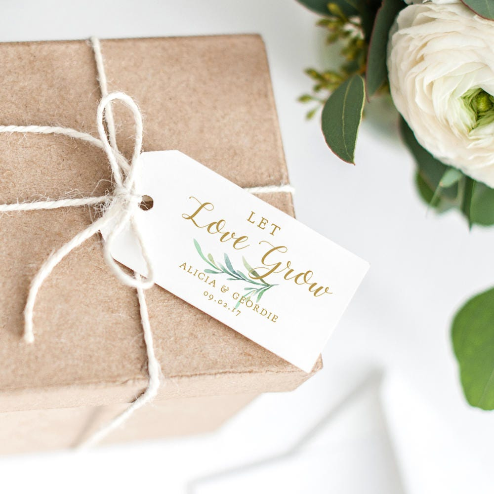 Let Love Grow Tag 2x4 Wedding Favor Tag, Wedding Love Gift Tags ...
