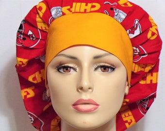 Kansas City Scrub Hat/Bouffant Scrub Hat/ Kansas City Chiefs NFL Scrub Hat/Scrub Hats/Scrub Caps/Medical Scrub HATS/Womens Scrub Hats/Gift