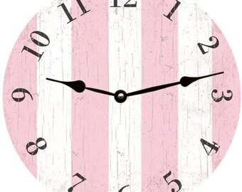 Pink Clock-Pink Striped Clock