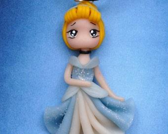 Disney inspired princess Cinderella polymer clay doll pendant necklace