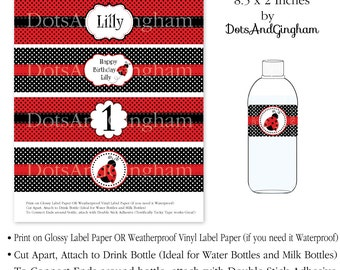 Red Ladybug Water Bottle Labels Printable Red Ladybug Water Bottle Wraps Red Ladybug Water Wraps Red ladybug Printable Water Bottle Labels