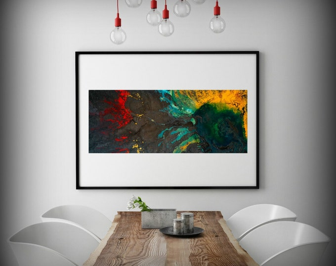 """Abstract Painting Print, Art Painting Variety of sizes, Dark Art, Colorful Painting, Wall Prints, Wall Decor Living Room """"Rise Above"""""""