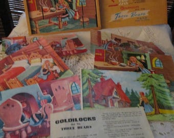 Picture Cubes Goldilocks and the Three Bears Wooden Building Block Puzzle Game  (1960s)
