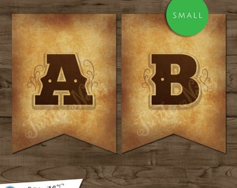 Small Western Themed Banner :  Printable Banner All Letters 0-9 numbers, Bonus Extras