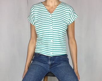 80s Cropped Stripe Jersey Top