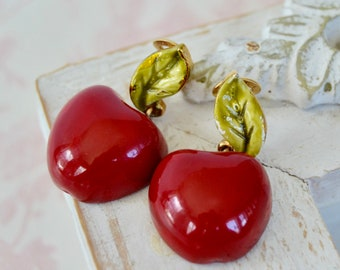 Vintage Clip-On Earrings with Red Enamel Apples and Green Leaves