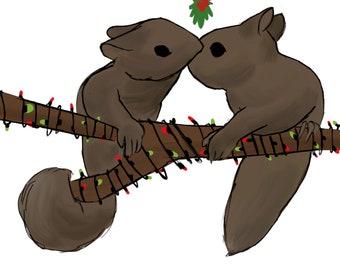 Squirrels Under the Mistletoe