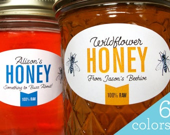 Custom Colorful Oval Honey labels for quilted mason jars, printed horizontal oval honeycomb jar stickers for backyard beekeeper gifts