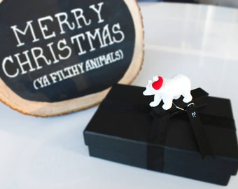 Animal Party Christmas Gift Tags - Set of 5 Clothespin Clip Tags - Handmade X-mas Holiday Gift Wrap