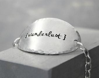 Wanderlust Bracelet, Travel Bracelet, Pewter Bracelet, Charm Bracelet, Hand Stamped Bracelet, Chain Bracelet, Handstamped