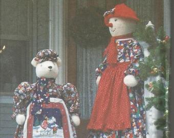 Faith Van Zanten Christmas Greeters Snow Lady Polar Bear with Clothes Simplicity 7882 Uncut FF Craft Sewing Pattern Christmas Sewing Pattern