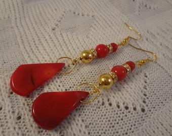 Long Dangle Beaded Red Coral 22k Gold Earrings - Jolie G107