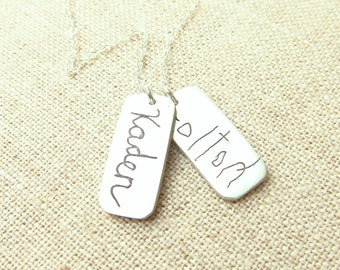 Mom Gift - Mother's Day Gift - Handwriting Jewelry - Personalized Necklace - Memorial Necklace -  ACTUAL Handwriting on Silver - Mom Jewelry