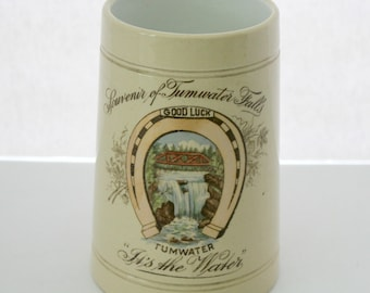 Pre Pro Olympia Tumwater Falls WA Large Mug | Vintage Souvenir Advertising It's The Water | Horse Shoe Good Luck