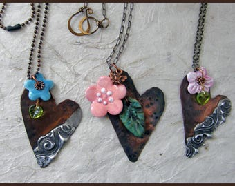 Long Copper and ceramic heart necklace