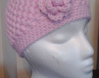 Crocheted Puff Stitch Kid's Winter Hat