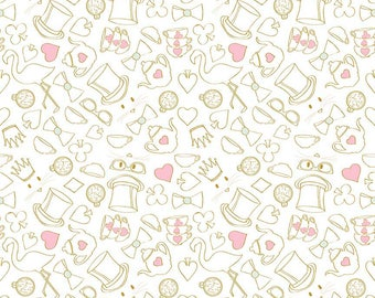 Tea Party Fabric/ Sparkle Fabric/ Wonderland Fabric/ Alice in Wonderland/ Riley Blake Fabric/ Fabric by the Yard/ Baby Girl Fabric
