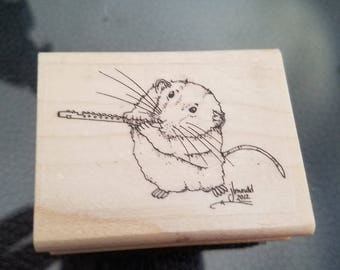 1 1/4 x 2 inches Mouse playing the flute red rubber stamp perfect for card-making or scrapbooking