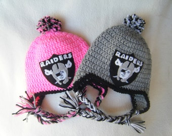 Crocheted Raiders Girls or Boys Inspired Team Colors or (Choose your team)  Football Helmet Baby Beanie/hat - Made to Order - Handmade by Me