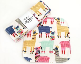 Set of 12 Cloth Napkins // Alpacas // Unpaper Towels // Reusable Wipes // Eco Friendly