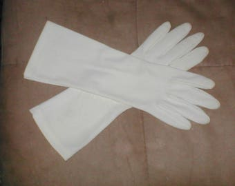 Vintage Off-White Cotton Dress Gloves