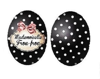 18x25mm cabochon Miss ruffles and black polka dots