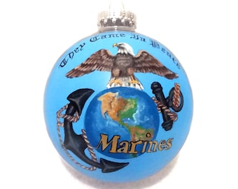 "Marine Eagle/Earth Emblem Ornament -""They Came In Peace""  -Hand Painted & Signed By Artist!"