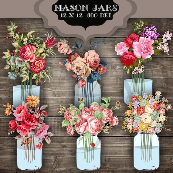Wedding Flowers In Mason Jars: Wedding Clip Art Mason Jar Bouquet Digital Clipart Vintage