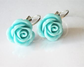 Rose Earrings, Aqua Blue Flower, Leverback, Rose Wedding Jewelry, Bridesmaid Drop, Romantic Flower