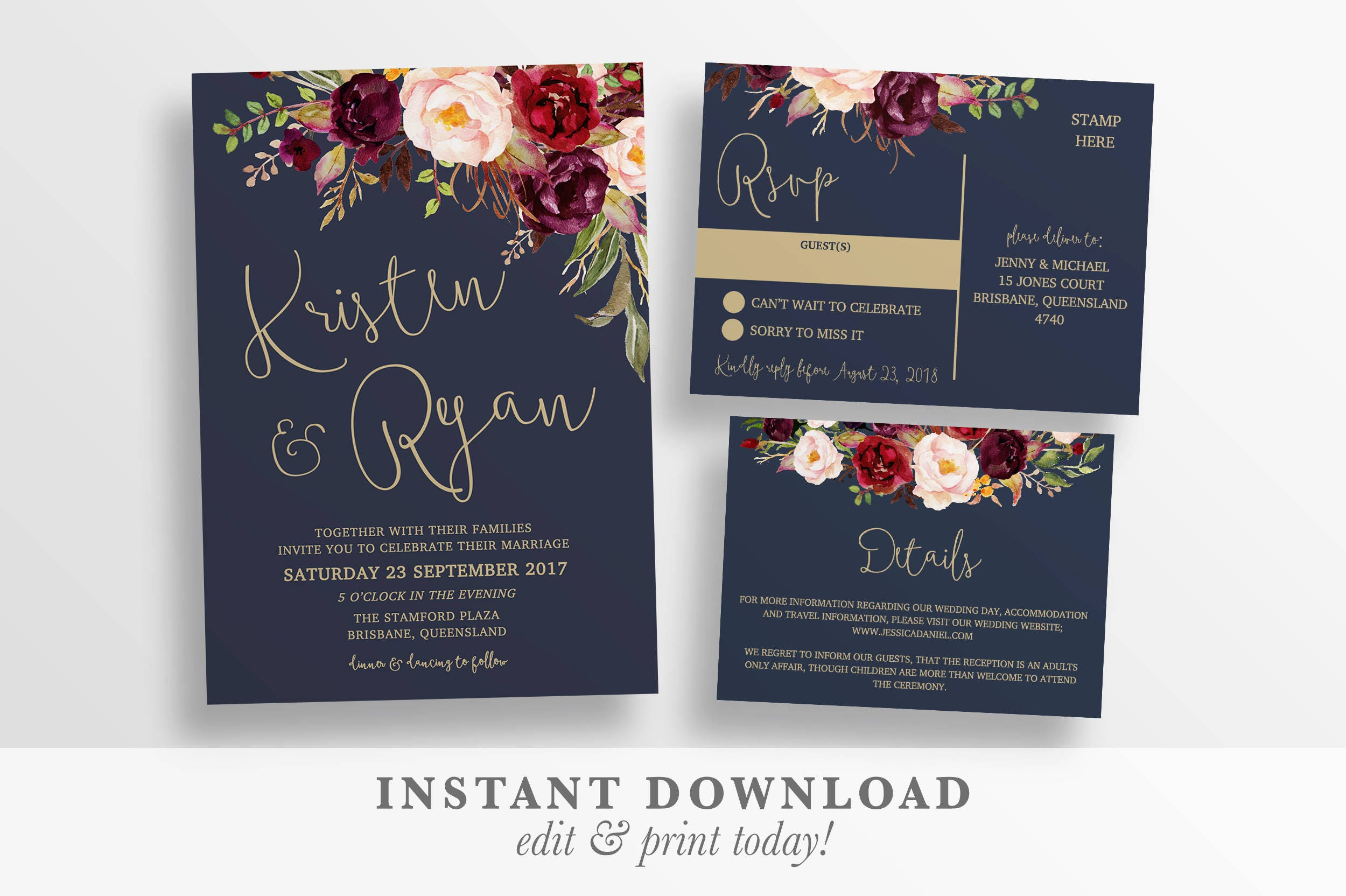 Wedding invitation printable rustic wedding invitation zoom stopboris Choice Image