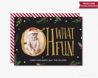 Oh What Fun Christmas Photo Card Card Black Gold Foil Printable Holiday Photo Card Holiday Greeting Card Picture Greeting Card