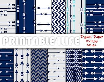 Blue digital paper pack, Chevron Arrow Navy Blue Craft Scrapbook paper, Personal Or Commercial Use (a01)