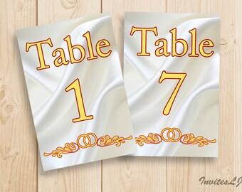 Wedding Table Numbers - Printable table numders 1-20 - Table number instant download - Wedding table sign printable