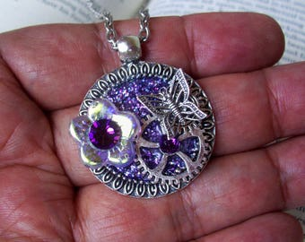Steampunk Necklace (N705) Purple Sparkle Base Pendant, Glass Flower Bead and Swarovski Crystals, Silver Gears and Butterfly, Chain