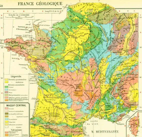 Antique Geological Map Of France French Map Large - Map of france in french