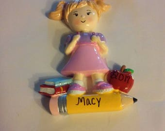 Girl going to school  personalized  Ornament