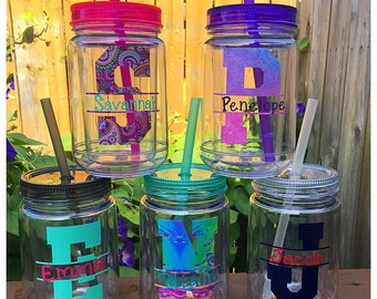 Personalized Mason Jar Cup, Mason Jar Tumbler, Lidded Tumbler, To Go Cup, Reuseable Dink Cup, Travel Cup, College Dorm Gift, Kids Lidded Cup