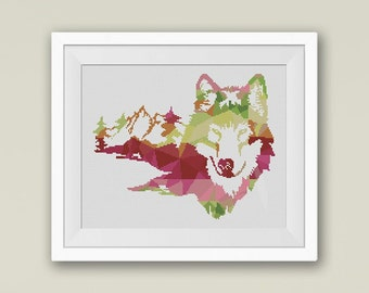 BOGO FREE! Wild Wolf Face, Cross Stitch Pattern, Mountain Forest Woodland Animals Wall Home Modern Decor PDF Instant Download #025-8
