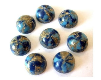 9 Vintage cabochon, lucite plastic, blue with gold color glitters,  13mm, 6mm height
