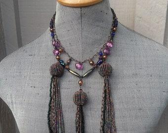 Iridescent Purple Amethyst Iris Peacock Beaded Tassel Choker Necklace / Peacock Wedding Theme Idea Dramatic Necklace Jewelry Jewellery
