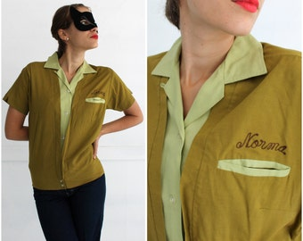 Vintage 1950s Custom Embroidered Two-Tone Green Bowling Shirt for Stockwell's Refrigeration by Dunbrooke Bowler MEDIUM