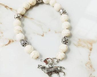 White Howlite Wolf Bracelet // Silver Bracelet // Game of Thrones